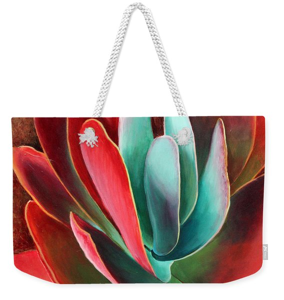 Weekender Tote Bag featuring the painting Garnet Jewel by Sandi Whetzel