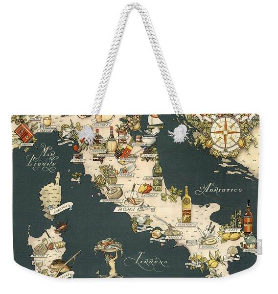Gastronomic Map Of Italy 1949 Weekender Tote Bag