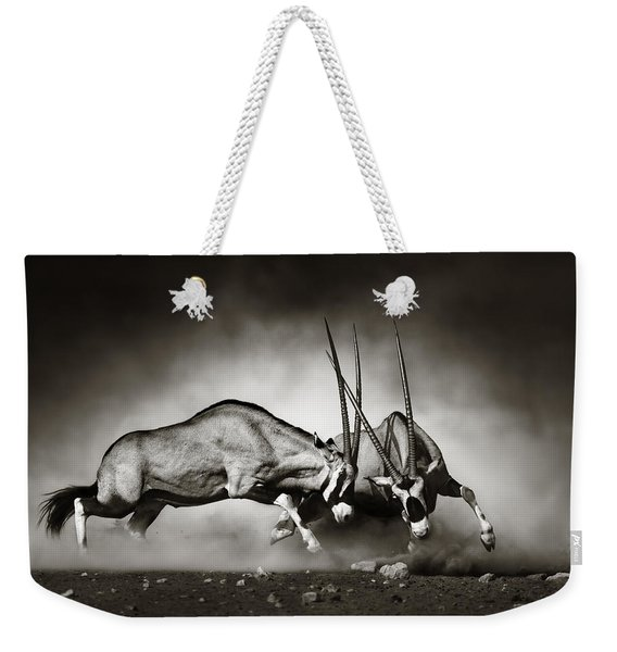 Gemsbok Fight Weekender Tote Bag