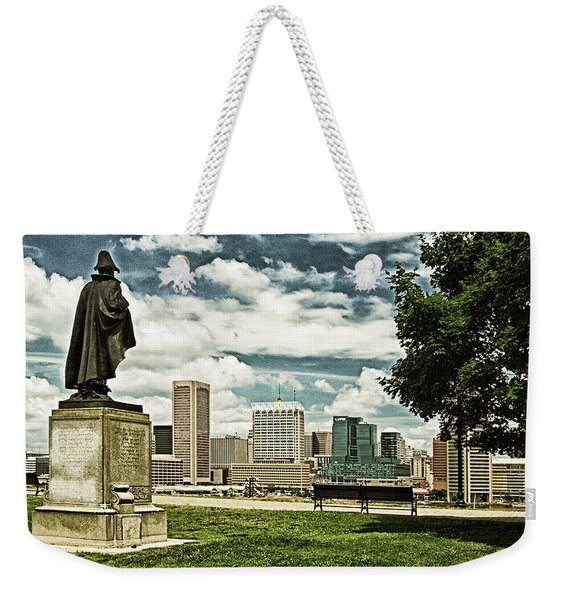 General Smith Overlooks Baltimore Harbor Weekender Tote Bag