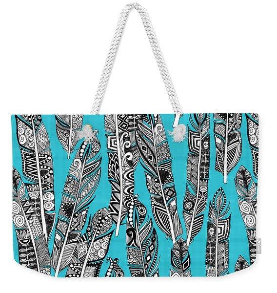 Geo Feathers Turquoise Blue Weekender Tote Bag