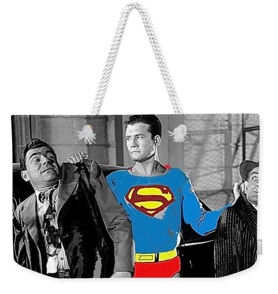 George Reeves As Superman In His 1950's Tv Show Apprehending Two Bad Guys 1953-2010 Weekender Tote Bag