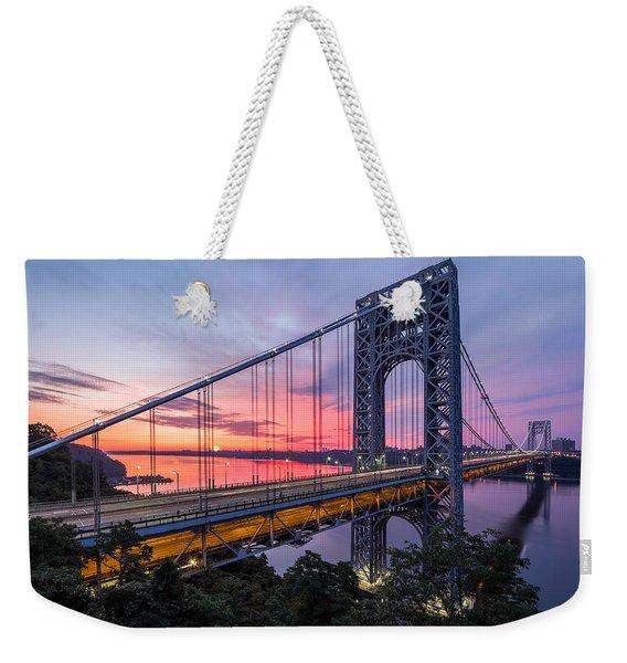 Weekender Tote Bag featuring the photograph George Washington Bridge by Mihai Andritoiu