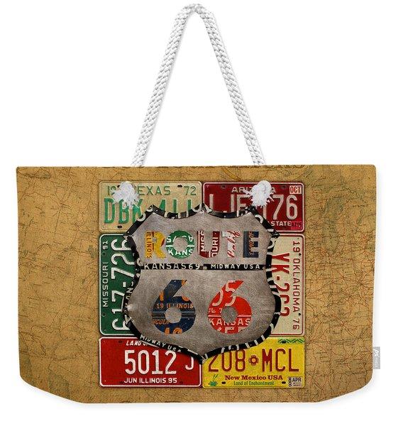 Get Your Kicks On Route 66 Vintage License Plate Art On Worn United States Highway Map Weekender Tote Bag