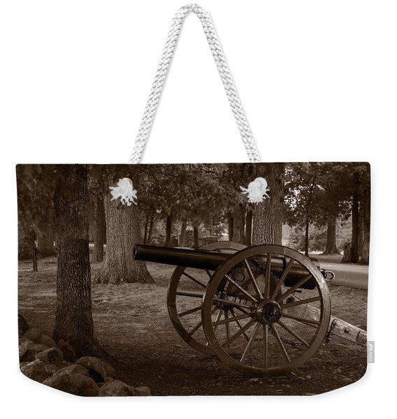 Gettysburg Cannon B W Weekender Tote Bag