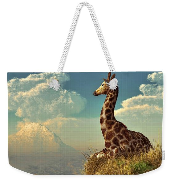 Giraffe And Distant Mountain Weekender Tote Bag