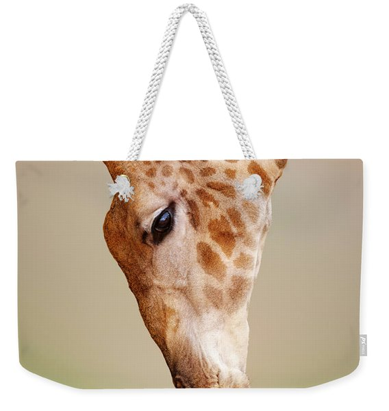 Giraffe Eating Close-up Weekender Tote Bag