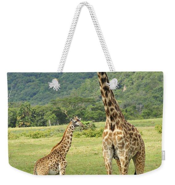 Giraffe Mother And Calftanzania Weekender Tote Bag