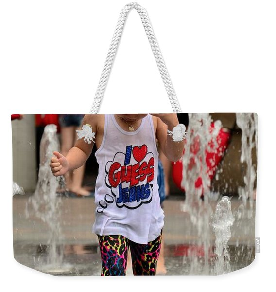 Girl Child Plays With Water At Fountain Singapore Weekender Tote Bag