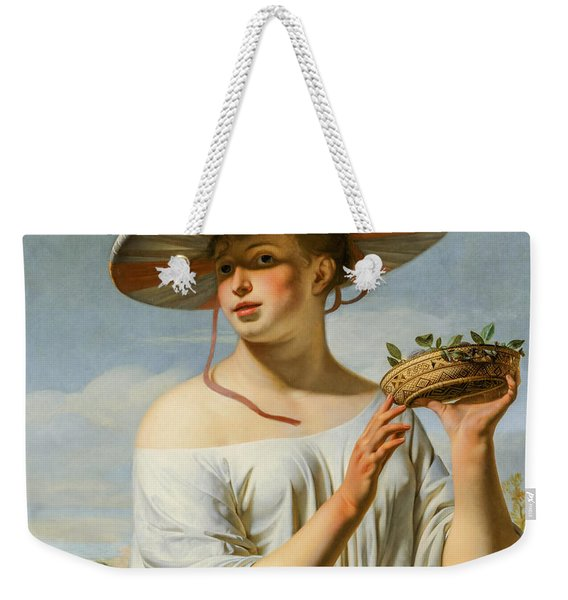 Girl Holding A Basket With Plums Weekender Tote Bag