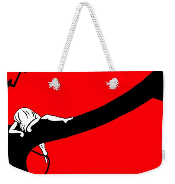 Girl On The Tree Of Time Red Weekender Tote Bag