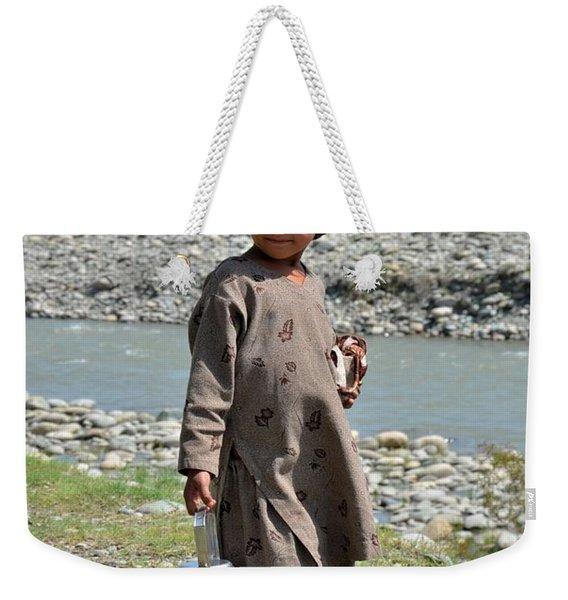 Girl Poses For Camera  Weekender Tote Bag