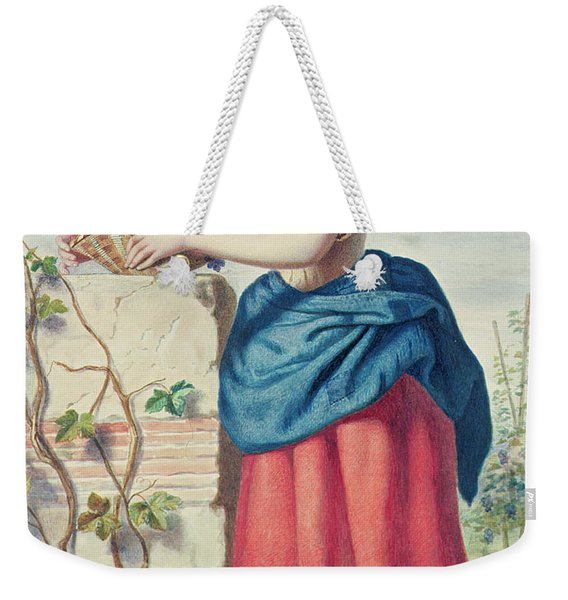 Girl With Basket Of Grapes Weekender Tote Bag