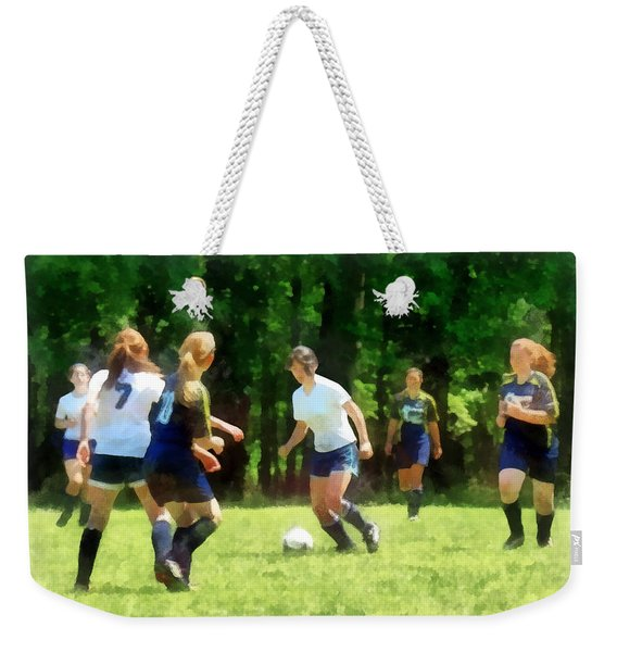 Girls Playing Soccer Weekender Tote Bag