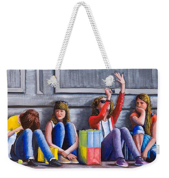 Girls Waiting For Ride Weekender Tote Bag