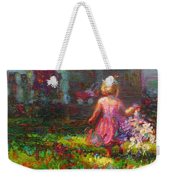 Weekender Tote Bag featuring the painting Girls Will Be Girls by Talya Johnson