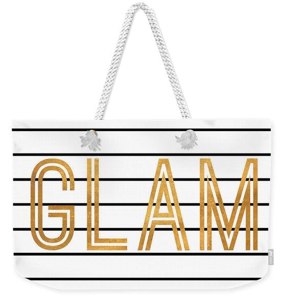 Glam Pinstripe Gold Weekender Tote Bag