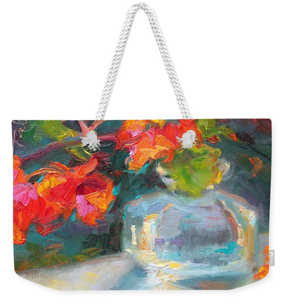 Weekender Tote Bag featuring the painting Gleaning Light Nasturtium Still Life by Talya Johnson