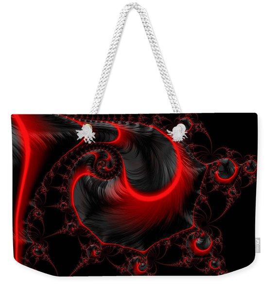 Glowing Red And Black Abstract Fractal Art Weekender Tote Bag