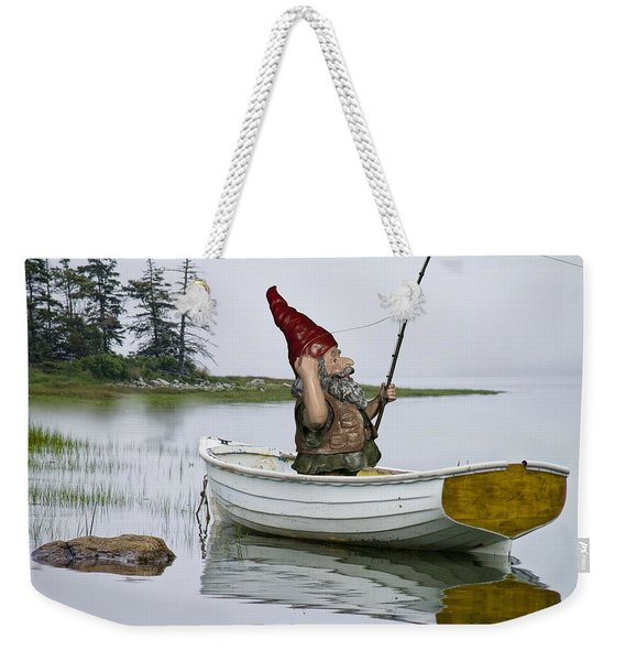 Gnome Fisherman In A White Maine Boat On A Foggy Morning Weekender Tote Bag