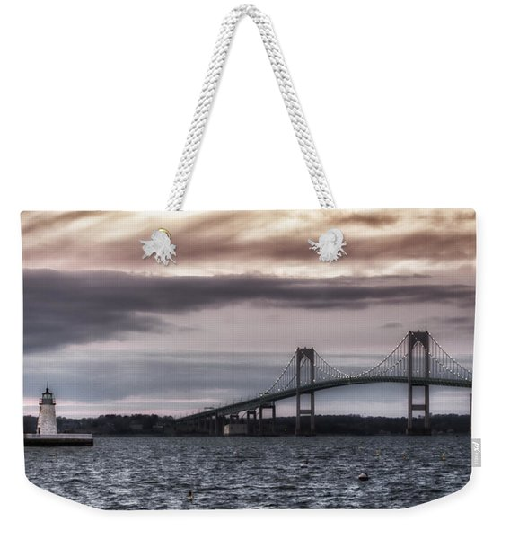 Goat Island Lighthouse And Newport Bridge Weekender Tote Bag