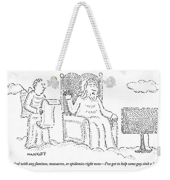 God Watches A Flat-screen Tv Weekender Tote Bag