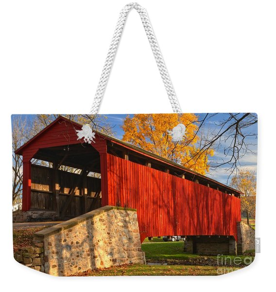 Gold Above The Poole Forge Covered Bridge Weekender Tote Bag