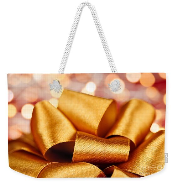 Gold Gift Bow With Festive Lights Weekender Tote Bag