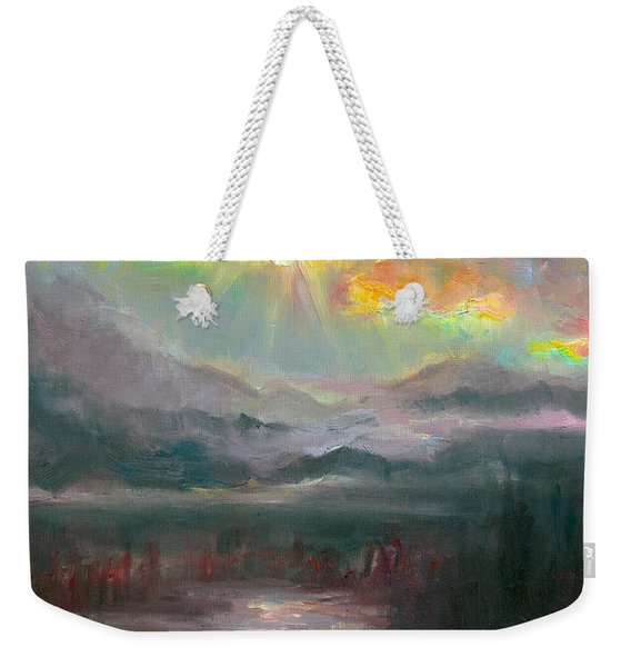 Weekender Tote Bag featuring the painting Gold Lining - Chugach Mountain Range En Plein Air by Talya Johnson