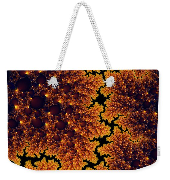 Golden And Black Fractal Universe Weekender Tote Bag
