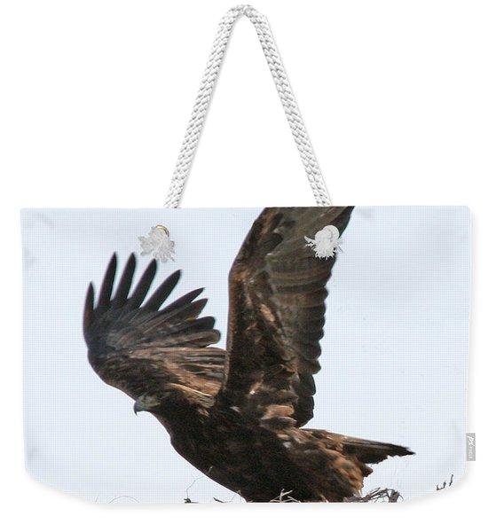 Golden Eagle Takes Off Weekender Tote Bag