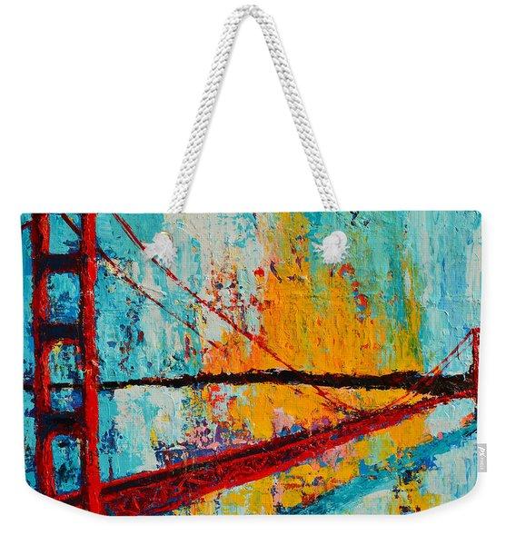 Golden Gate Bridge Modern Impressionistic Landscape Painting Palette Knife Work Weekender Tote Bag