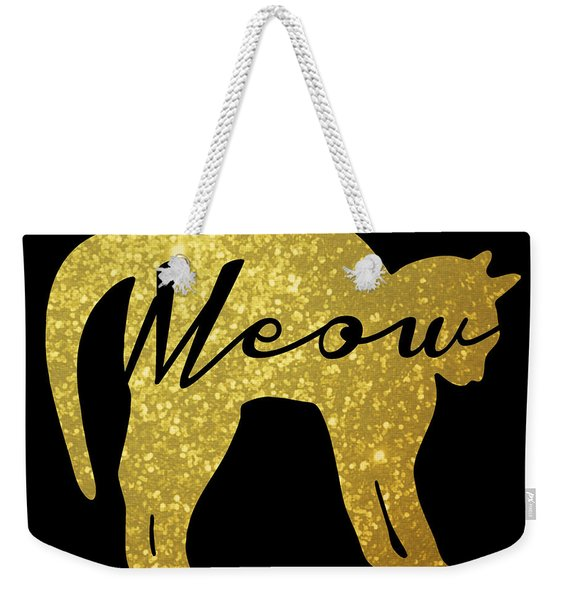 Golden Glitter Cat - Meow Weekender Tote Bag