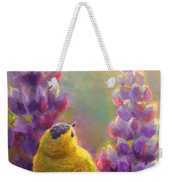 Golden Light 1 Wilsons Warbler And Lupine Weekender Tote Bag