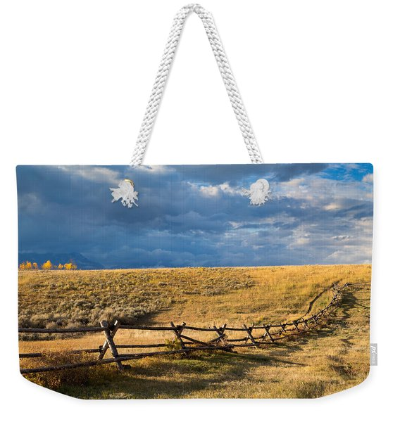 Golden Light On A Stormy Prairie Weekender Tote Bag
