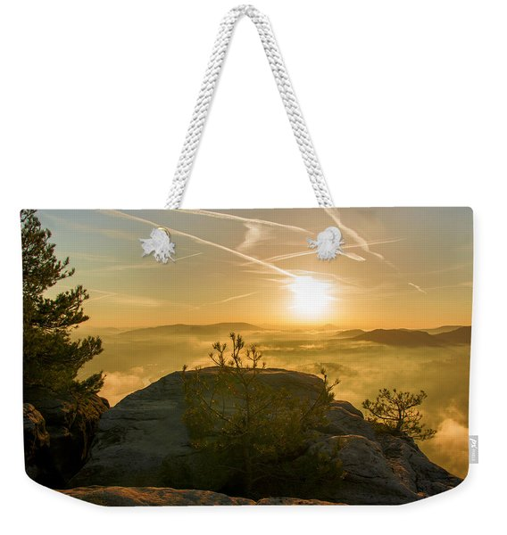 Golden Morning On The Lilienstein Weekender Tote Bag