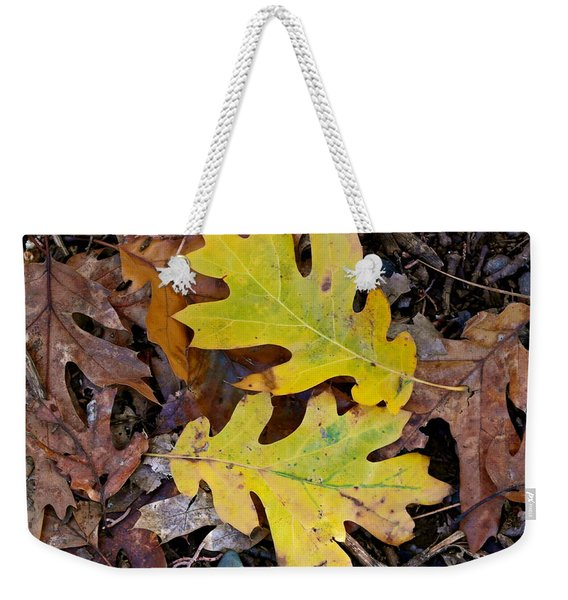 Golden Oak Leaf Duet Weekender Tote Bag