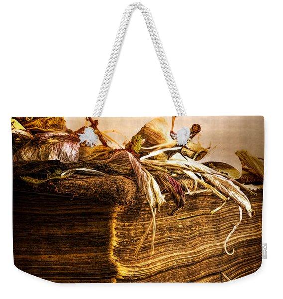 Golden Pages Falling Flowers Weekender Tote Bag