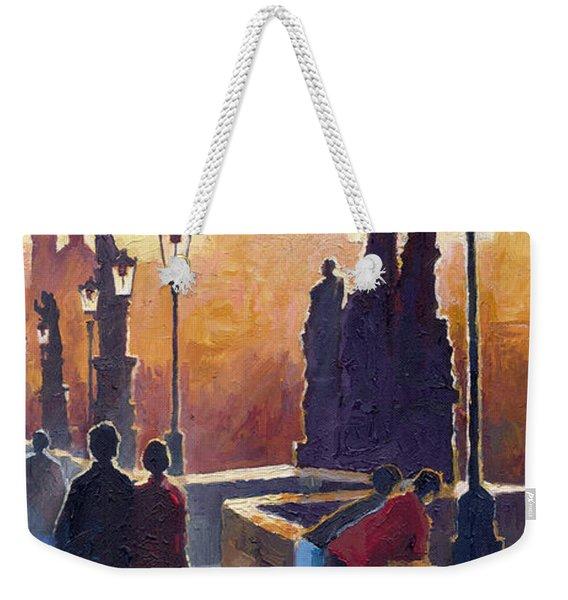 Golden Prague Charles Bridge Weekender Tote Bag