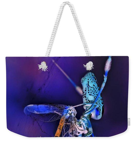 Golden Silk Orb With Blue Dragonfly Inverted Weekender Tote Bag