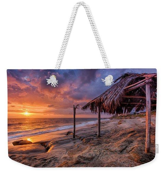 Golden Sunset The Surf Shack Weekender Tote Bag