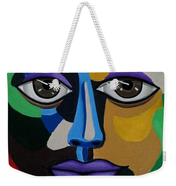 Colorful Illusion Abstract Face Art Painting, Big Brown Eye Art, Optical Artwork Weekender Tote Bag