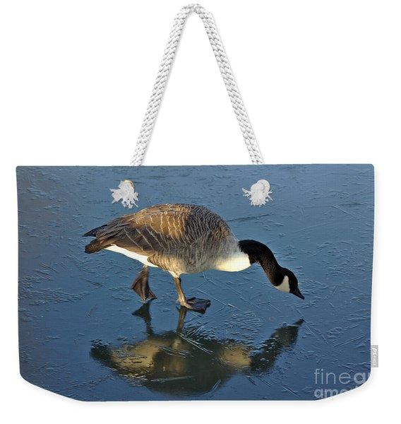 Goose On Ice Weekender Tote Bag
