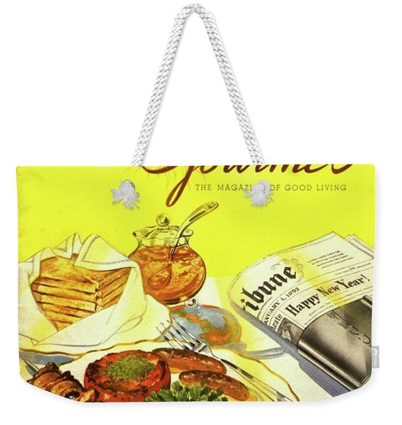 Gourmet Cover Illustration Of Grilled Breakfast Weekender Tote Bag