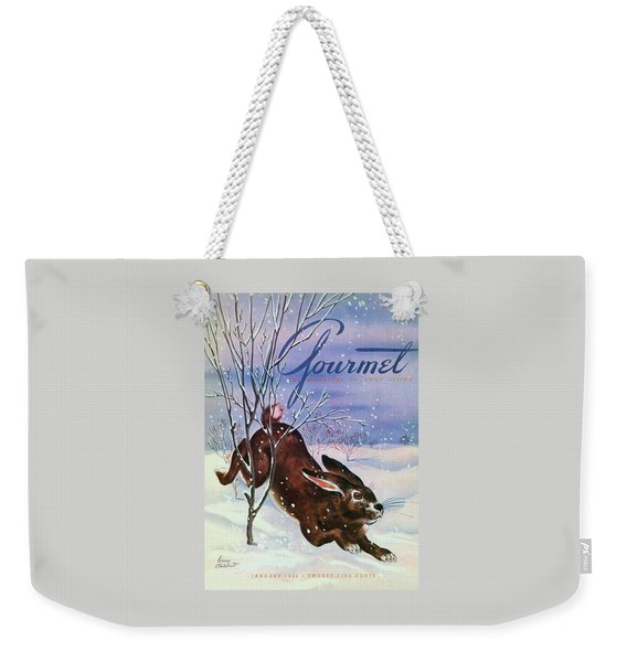 Gourmet Cover Of A Rabbit On Snow Weekender Tote Bag