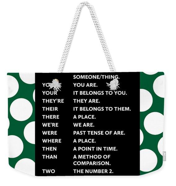 Grammar Rules Weekender Tote Bag