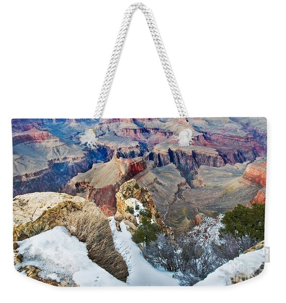 Weekender Tote Bag featuring the photograph Grand Canyon In February by Mae Wertz