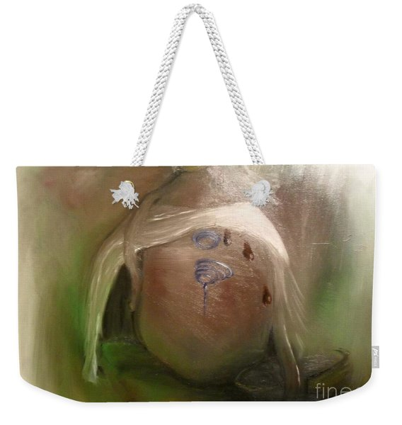 Weekender Tote Bag featuring the painting Grandpa's Honey Jug by Laurie Lundquist