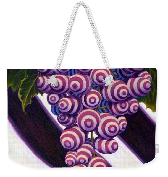 Weekender Tote Bag featuring the painting Grape De Menthe by Sandi Whetzel
