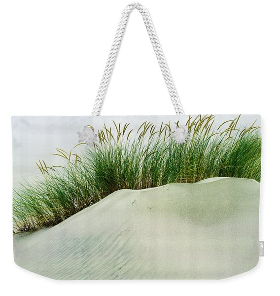 Grass On The Sand Dunes With Fog Weekender Tote Bag